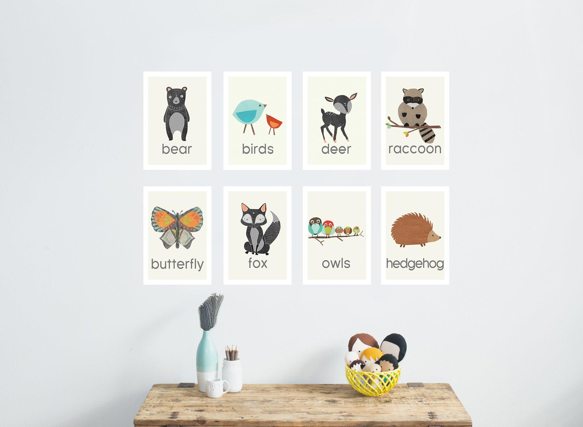 Nature Animal Mini Print Collection, 5x7 Wall Cards, Nursery Wall Art Decor, Kid's Art Decor, Gender Neutral Nursery, Forest Animals, Woodland Nursery, Nature Themed Wall Art, Preschool Decor