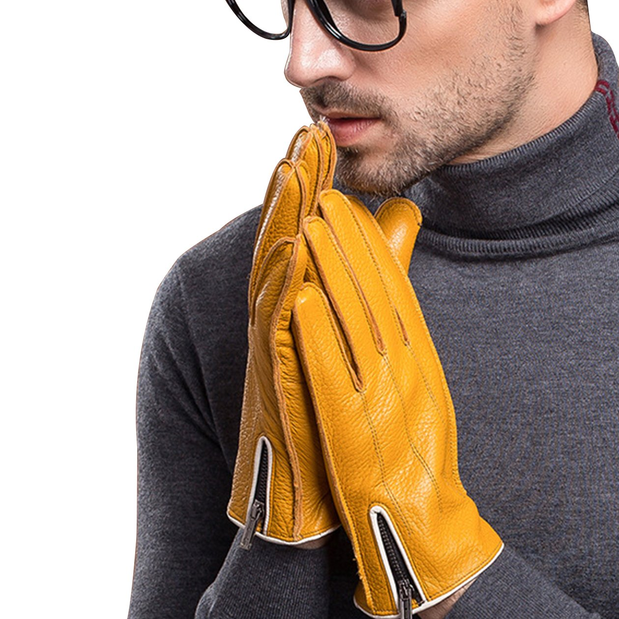 Leather gloves winter warm fashion simple business sheepskin gloves yellow classic for men size M