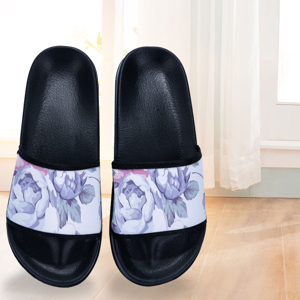 Simple Rose Pattern Slippers Quick-Drying Non-Slip Slippers for Womens