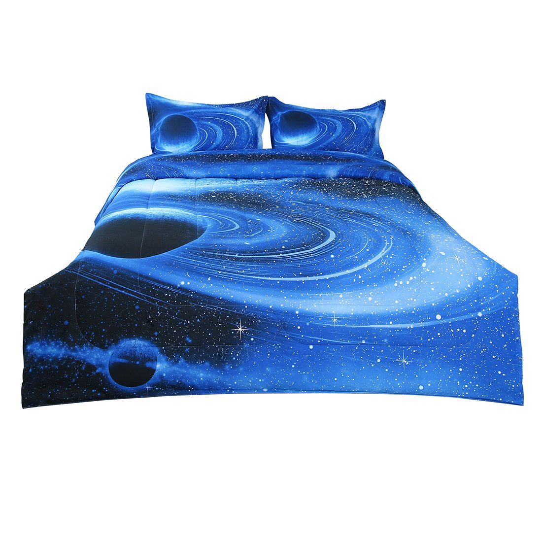 uxcell Full/Queen 3-piece Galaxies White Blue Comforter Sets - 3D Space Themed - All-season Down Alternative Quilted Duvet - Reversible Design - Includes 1 Comforter, 2 Pillow Shams