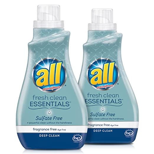 all Fresh Clean Essentials Laundry Detergent, Sulfate Free and Fragrance Free, 30 Fluid Ounces, 2 Count, 46 Total Loads