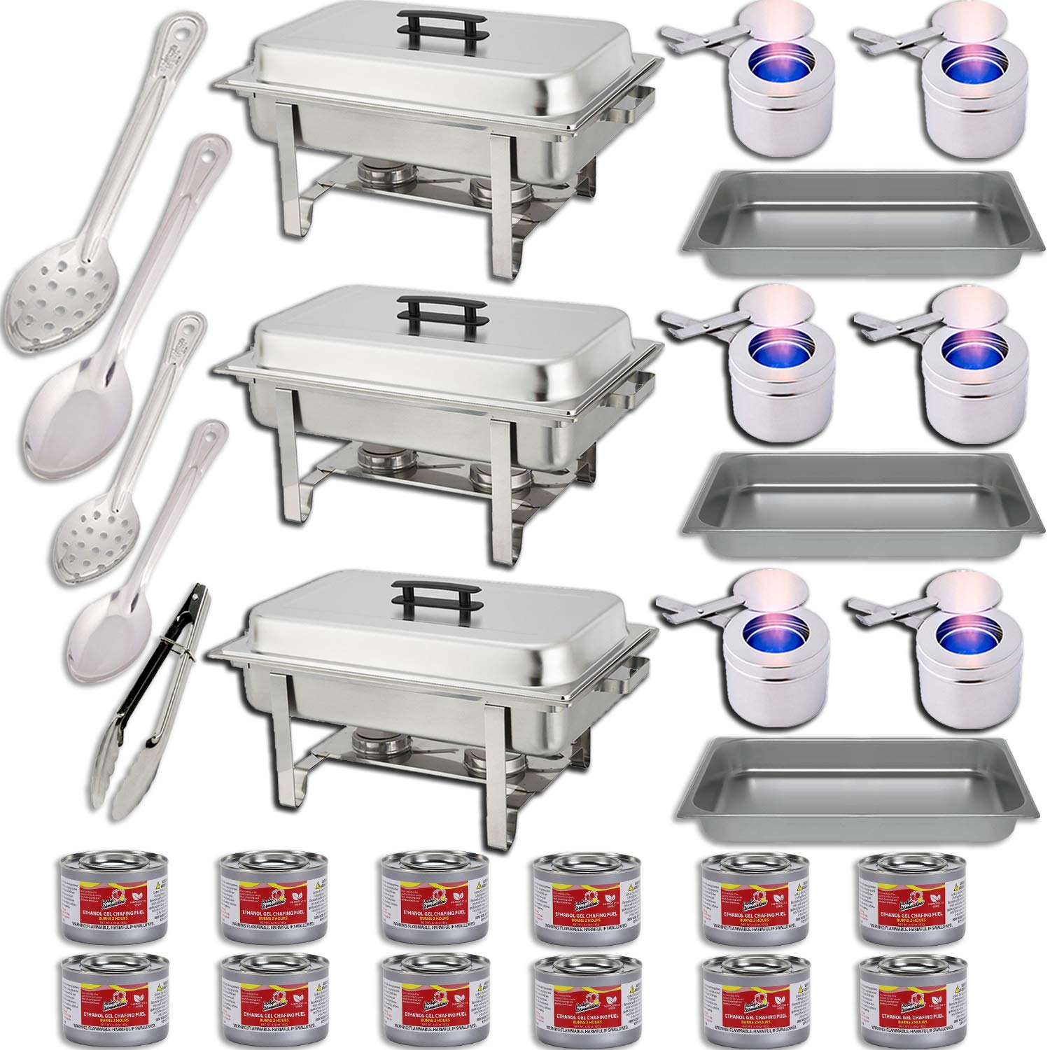 Chafing Dish Buffet Set w/Fuel - Water Pans + Food Pans 8qt + Frames + Lids + Fuel Holders + 12 Fuel Cans + Serving Utensils, 15'', 11'' Perforated Spoon + 15'', 11'' Solid Spoon + 9'' Tong - 3 Warmer Kit