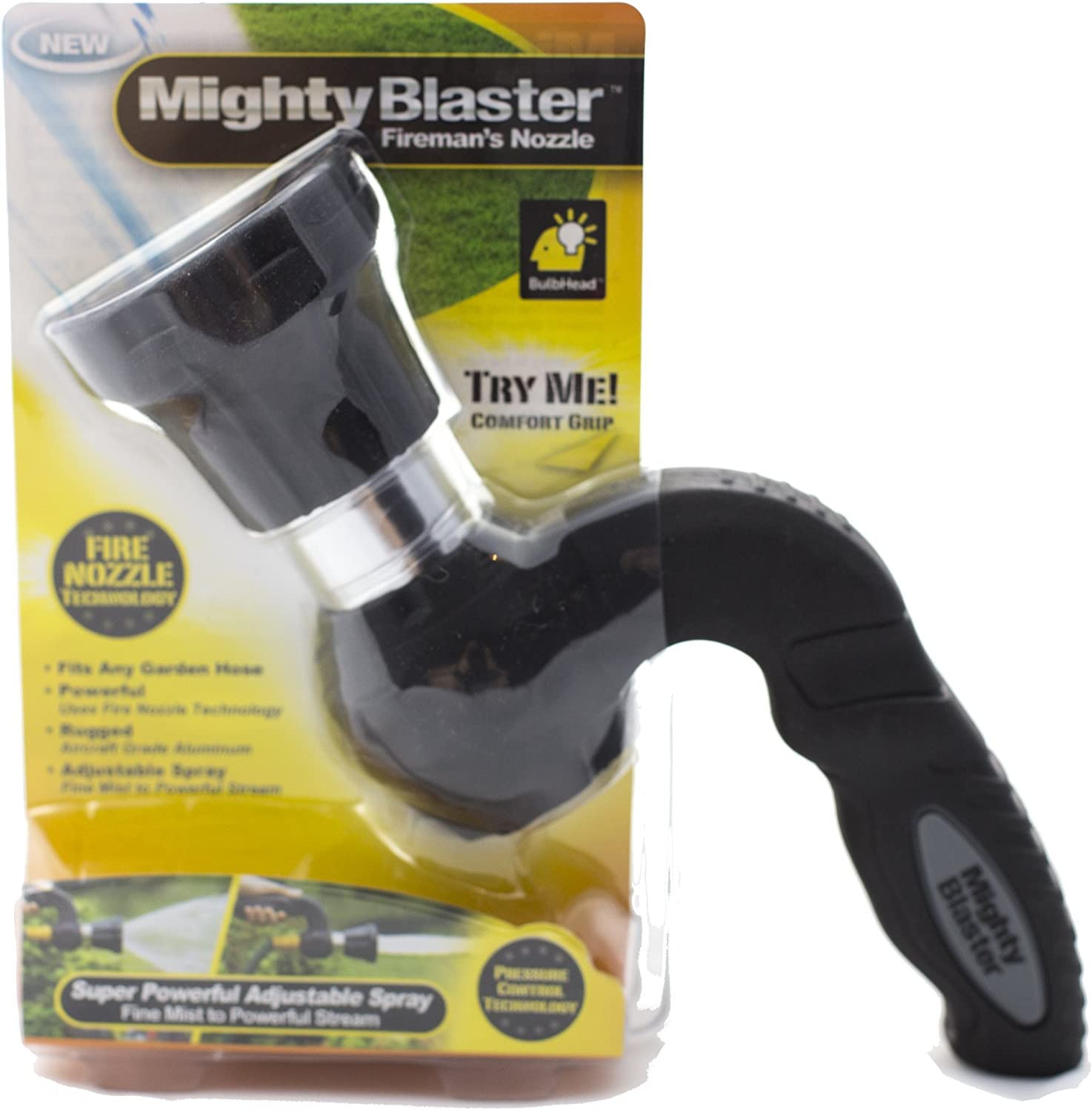 Mighty Blaster Hose Nozzle, Garden Sprayer - by BulbHead - Power Wash and Water Your Lawn Like a Pro!