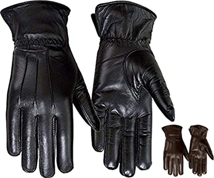 Men's Lined Leather Gloves Soft Leather Thermal Adults Winter Gloves Classic