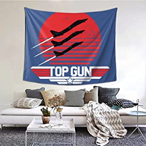 Classic Top Gun Red Sun Tapestries With Art Nature Home Stylish Wall Hangings Tapestry Bedroom Party Decor (60 X 51 Inch)