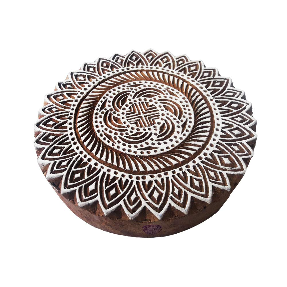 8 Inch Textile Large Printing Stamp Mandala Round Design Big Wood Block