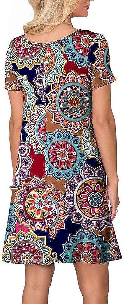 Ulanda-EU Womens Short Sleeve Floral Printed Summer Dresses Ladies Casual Pleated Pockets Sundress Holiday Beach Swing Mini Dress
