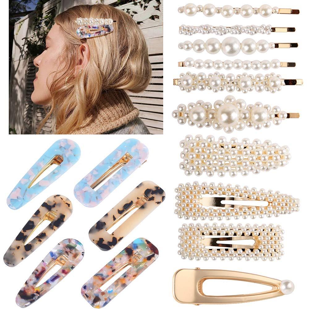 Hoomall 12PCS Pearl Hair Clip Resin Metal Pearl Hair Accessories Fine Large  Cute Bridal Alligator Snap Hair Barrettes Duckbil Hair Clips Wedding Hair