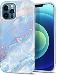 """CAOUME Compatible with iPhone 12 iPhone 12 Pro Case Blue Marble Design Sparkly Glitter Protective Stylish Slim Thin Cute Holographic Cases for Apple Phone 6.1"""" 2020, Soft TPU Silicone Bumper"""