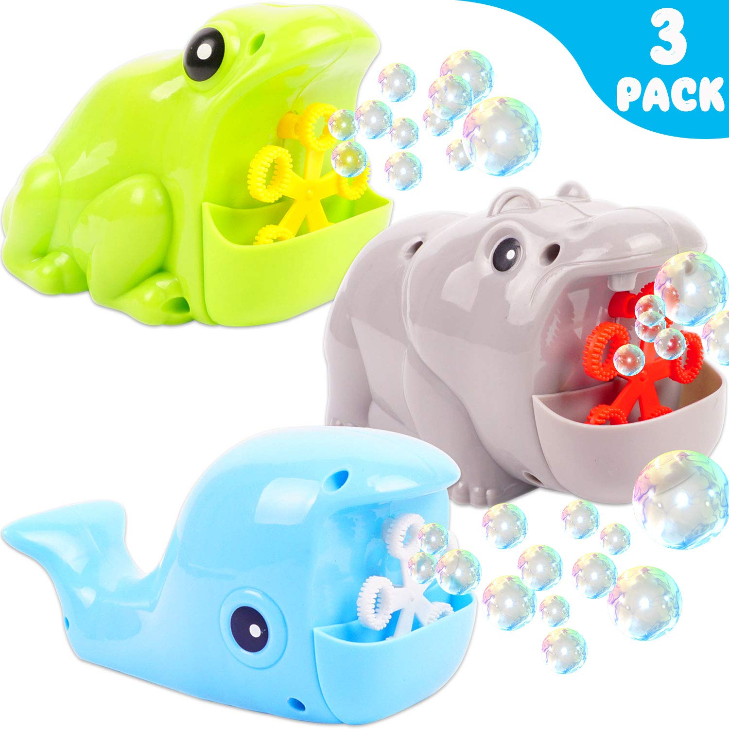 Mindscrio Bubble Machine, 3 Pack Automatic Durable Bubble Blower for Kids, 2500 Bubbles per Minute, Easy to use Children's Toys for Indoor and Outdoor, Best Bubble Toys Bath Toys Gift Idea