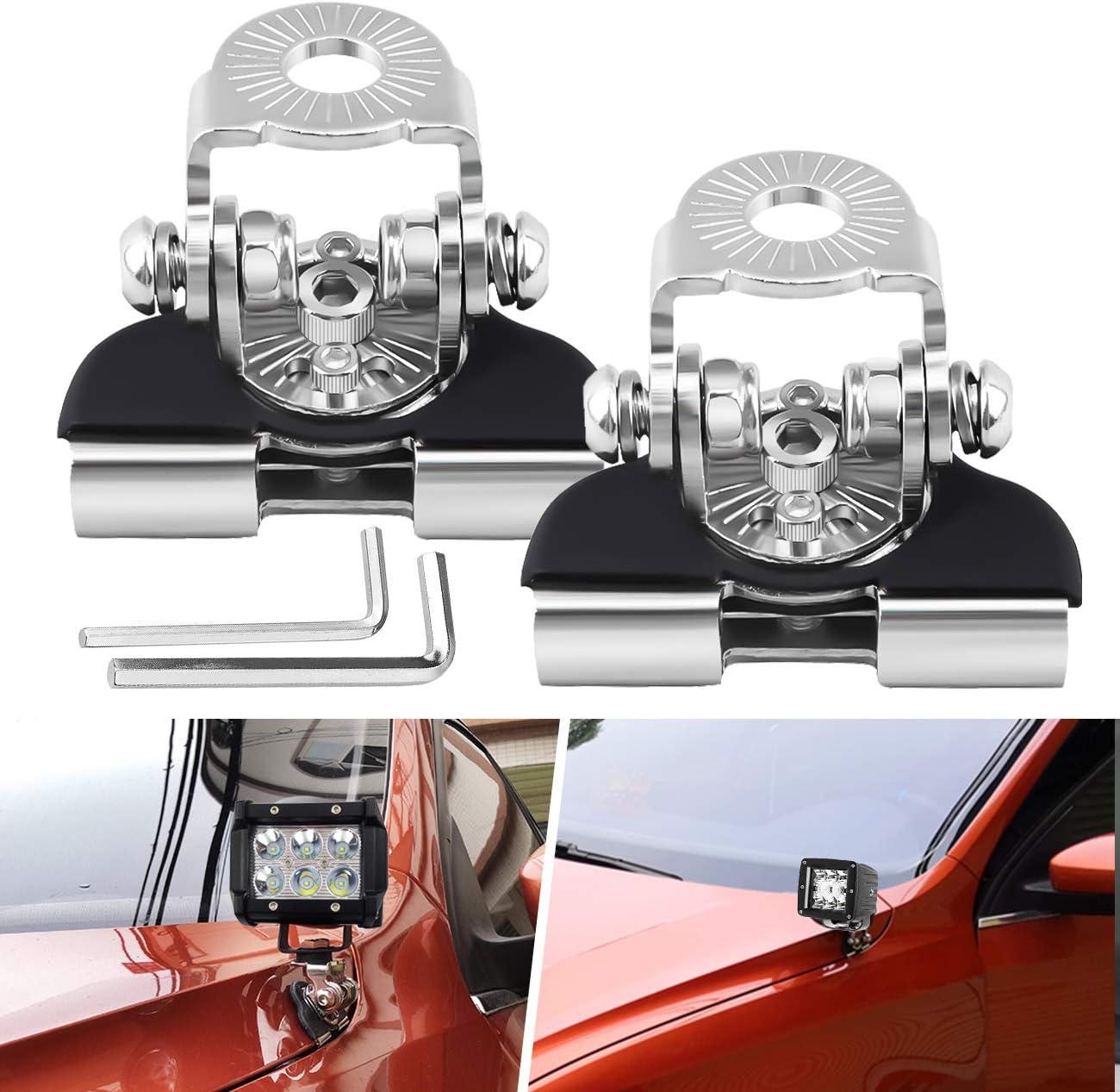 2Pcs Work Light Bracket,Universal Stainless Steel Car Hood LED Work Light Bracket Off Road Work Lamp Mount Holder