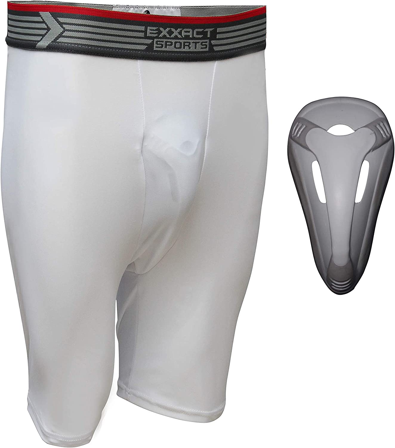 White Adult Large Exxact Sports Compression Shorts Flex Supporter with Hard Cup Included Athletic Cup Protector Safety Support Cup Included Youth and Adult Sizes
