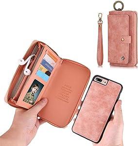 iPhone 7 Plus Wallet Case - JAZ Zipper Purse Detachable Magnetic14 Card Slots Card Slots Money Pocket Clutch Leather Wallet Case for iPhone 8 Plus / 7 Plus Rose Gold