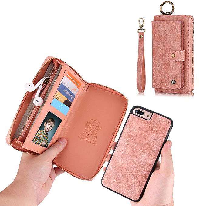 online store 17c9f e4668 iPhone 7 Plus Wallet Case - JAZ Zipper Purse Detachable Magnetic14 Card  Slots Card Slots Money Pocket Clutch Leather Wallet Case for iPhone 8  Plus/7 ...
