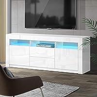 Artiss TV Unit 160cm Length Entertainment Unit High Gloss TV Cabinet Stand Cupboard, White