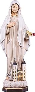 Ferrari & Arrighetti Our Lady of Medjugorje Statue, Hand-Painted Wood, 30 cm / 11 ¾ in Tall Series - Demetz Deur