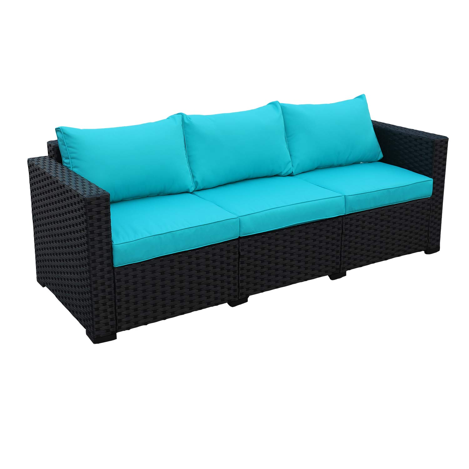 Patio PE Wicker Couch - 3-Seat Outdoor Black Rattan Sofa Furniture with Turquoise Cushion by WAROOM