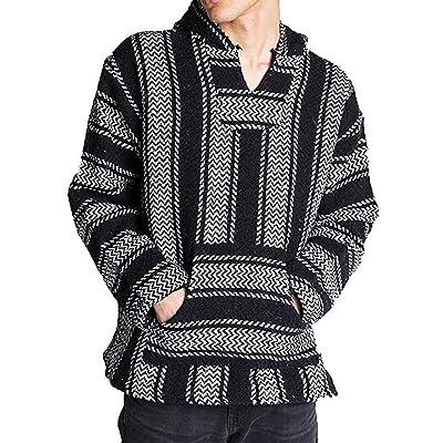 Baja Joe Striped Woven Eco-Friendly Jacket Coat Hoodie (Teal) at Men's Clothing store
