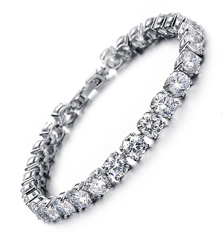 MEETYOO Tennis Bracelet with Swarovski Elements Crystal Jewelry Women Lady Zirconia Platinum Plated Bangle for her by MEETYOO
