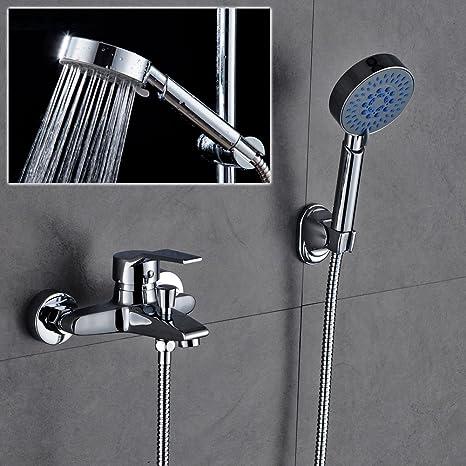 AuraLum KalamoQYL1019#NVT612 - Sistema de ducha clásico con alcachofa de mano y grifo con función de 3 funciones (válvula de cerámica de 40 mm): Amazon.es: ...