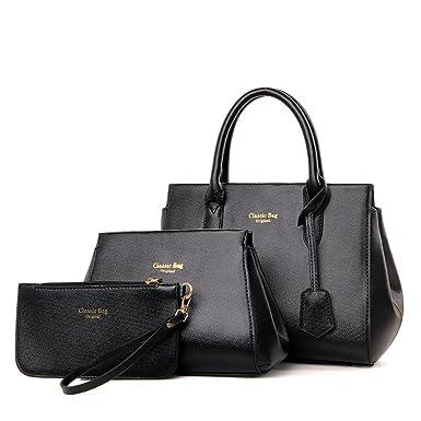 Damen Umhängetasche Handtasche Geldbörse Mode Kreuzmuster 3 Sätze Temperament Lässig Big Bag,Red-OneSize CHENGXIAOXUAN