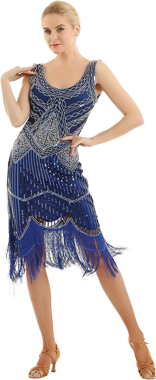 ACSUSS Womens Flapper Dresses 1920S V Neck Beaded Fringed Costume Great Dress