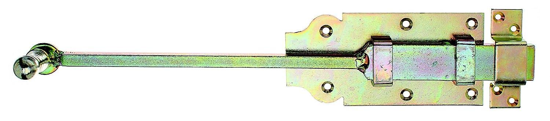 406 x 80 mm mit Knopfgriff und befestigter Schlaufe galvanisch gelb verzinkt GAH-Alberts 123154 T/ür-Stangenriegel