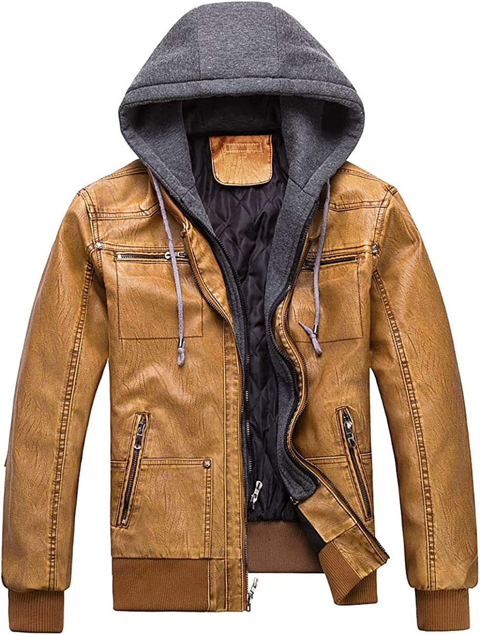 WULFUL Men's Casual Miami 4 years warranty Mall Faux Leather Jacket Removable with Pu W Hood