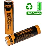 Sidiou Group 18650 Lithium Ion Battery 3.7V 3000mAh Rechargeable Battery for LED flashlight torch (A Set of 2 Pieces)