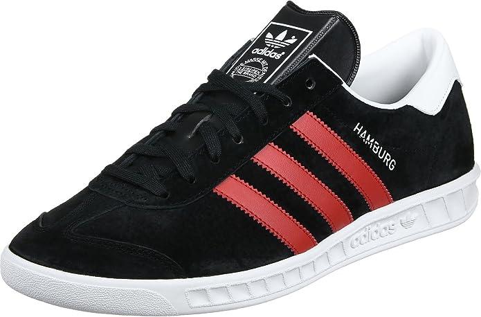 adidas Hamburg Herren Schuhe Schwarz mit roten Streifen
