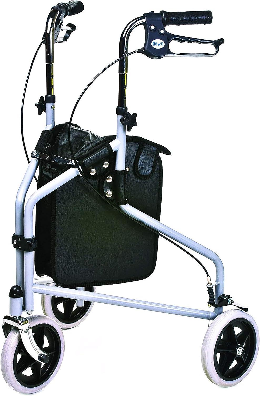 Patterson Medical - Andador de 3 ruedas y frenos bloqueables, color gris