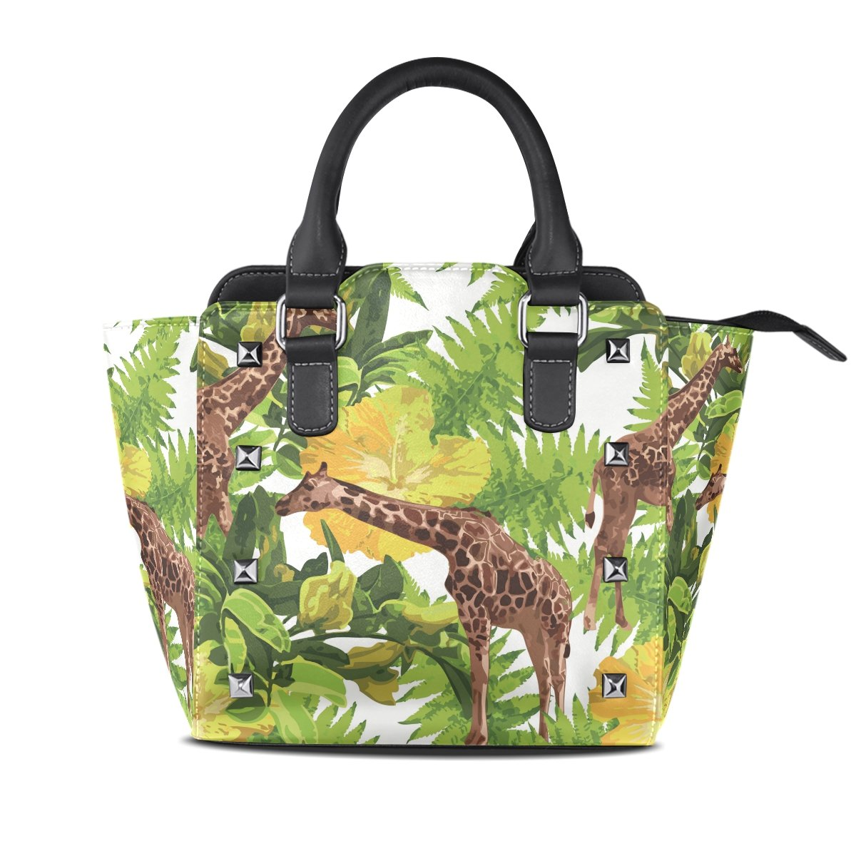 Womens Genuine Leather Hangbags Tote Bags Leaves Giraffes Purse Shoulder Bags