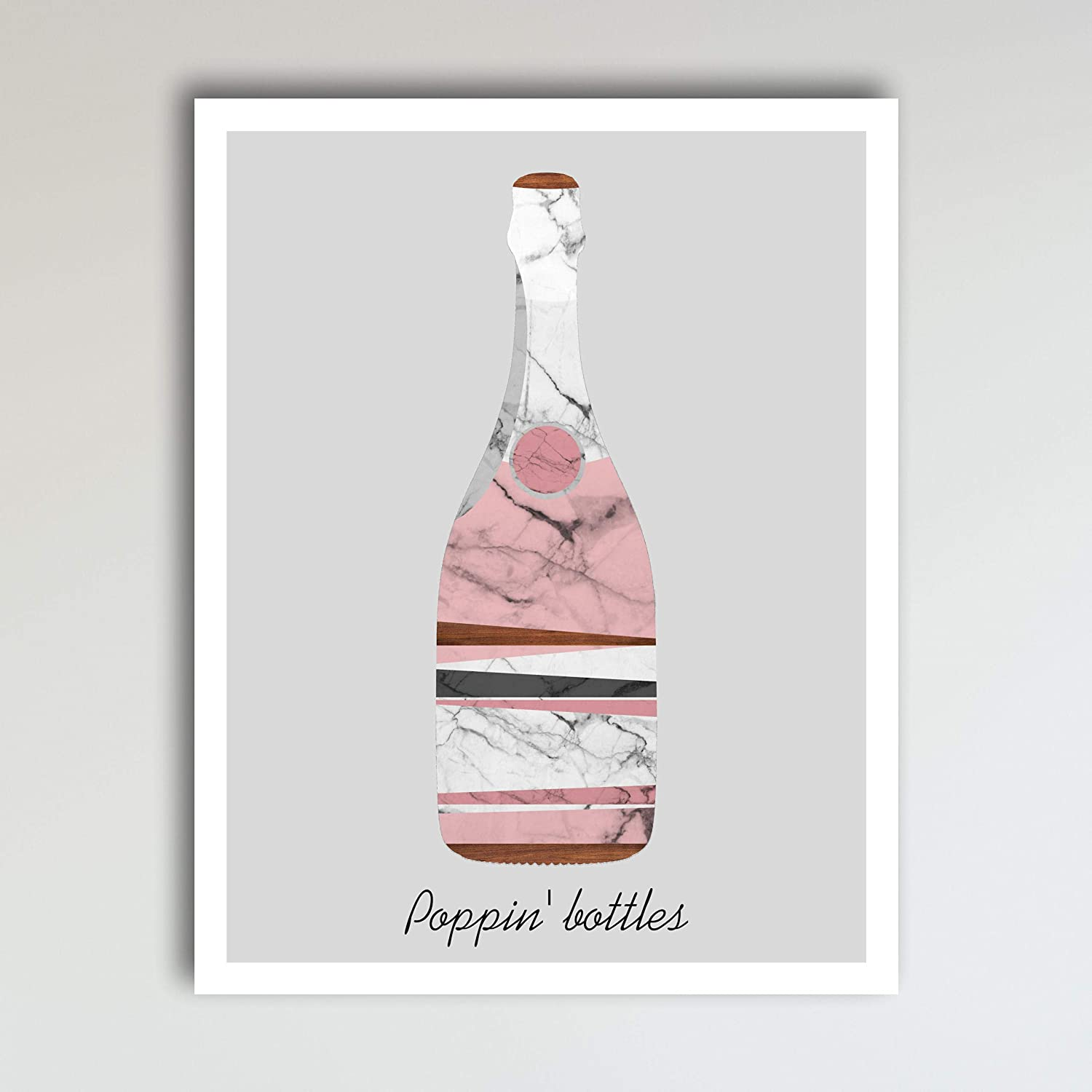 Amazon Com Poppin Bottles Marble Champagne Art Print Poster Champagne Fun Home Kitchen Wall Art Home Decor 11x14 Inches Unframed Handmade