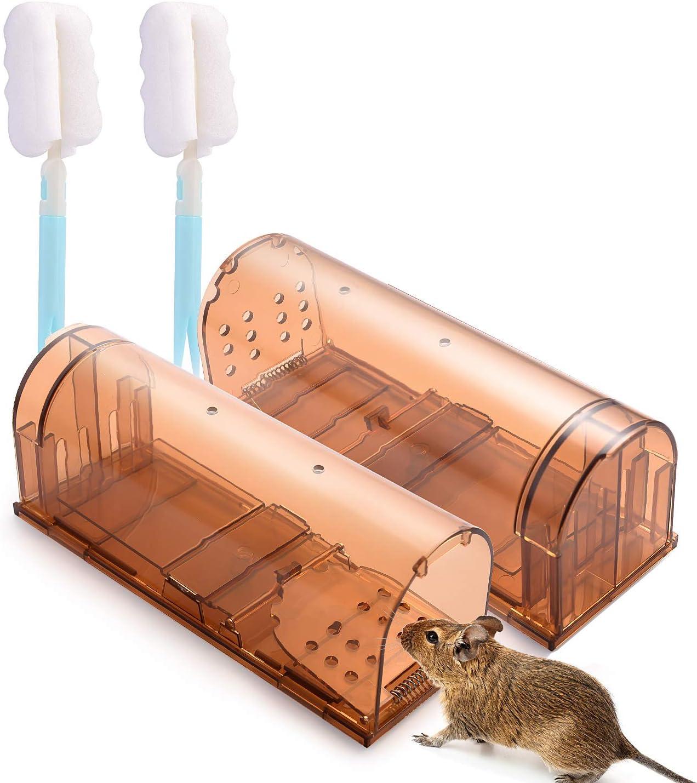 Herefun Trampa para Ratas, 2Pcs Trampa para Ratones Vivas, Ratas Ratonera de Plástico Reutilizable, Humanitario y Grande, Ratonera Ratas Vivos Trampa para Jardín Cocina Garaje (20 x 6.8 x 8 cm)