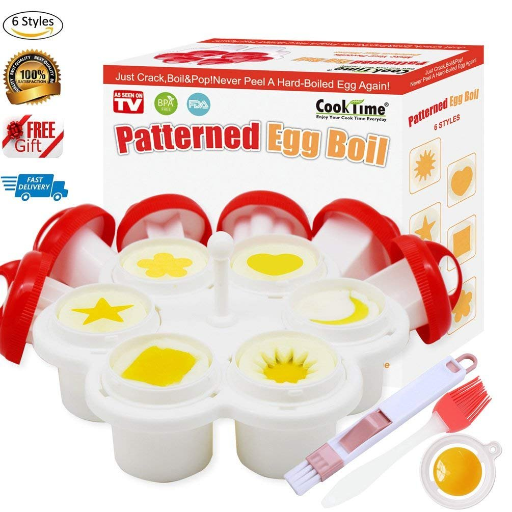 Patterned Egg Cooker&Mold,Hard Boiled Egg Maker Without the Shell,6 Shapes Yolk Mold Microwave Egg Cooker-Egg Holder,Egg Separator,Oil&Cleaner Brush and Instruction Book Included(2018 Upgrade Version)