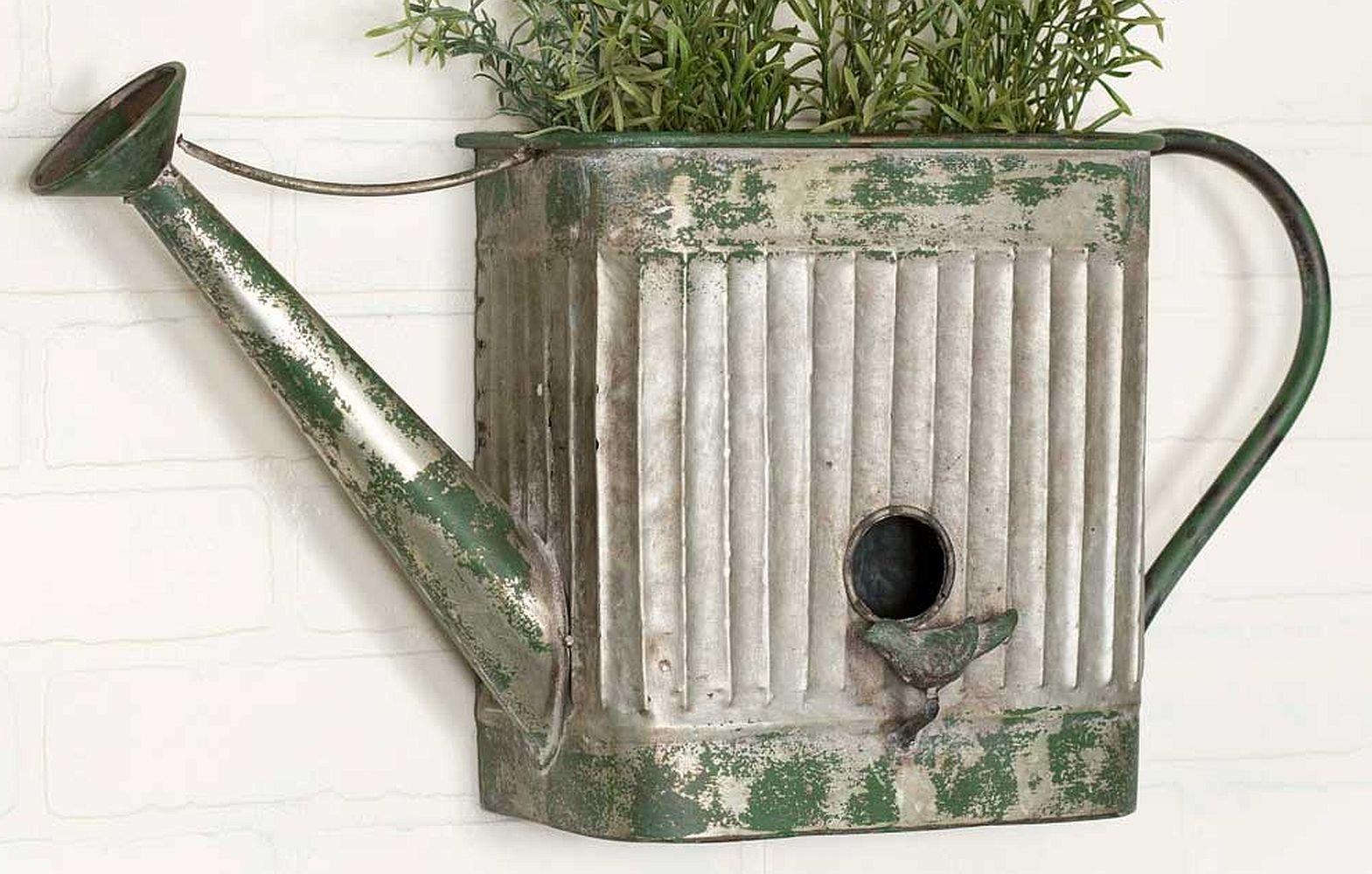 Rustic Watering Can Planter abd Birdhouse, grey