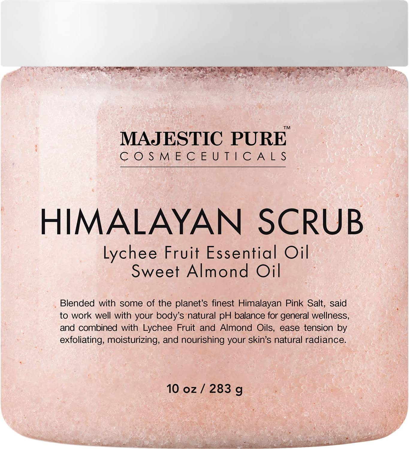 Majestic+Pure Himalayan All Natural Scrub with Lychee Fruit Essential Oil, Sweet Almond Oils, 10 oz Body Scrubs at amazon