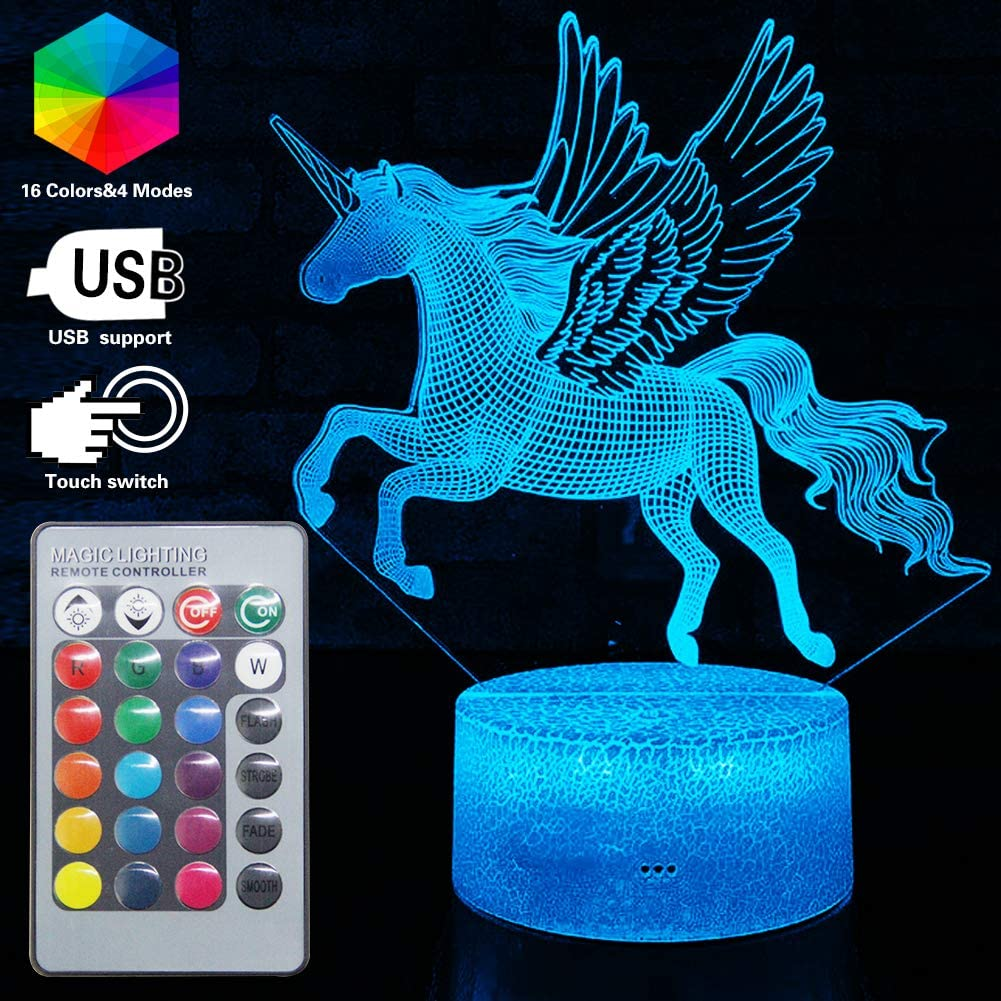 Unicron 3D Night Light Illusion Bedside Lamp LED Light for Girls Best Gift for Girls 16 Colors Change with Remote Control /& Smart Touch