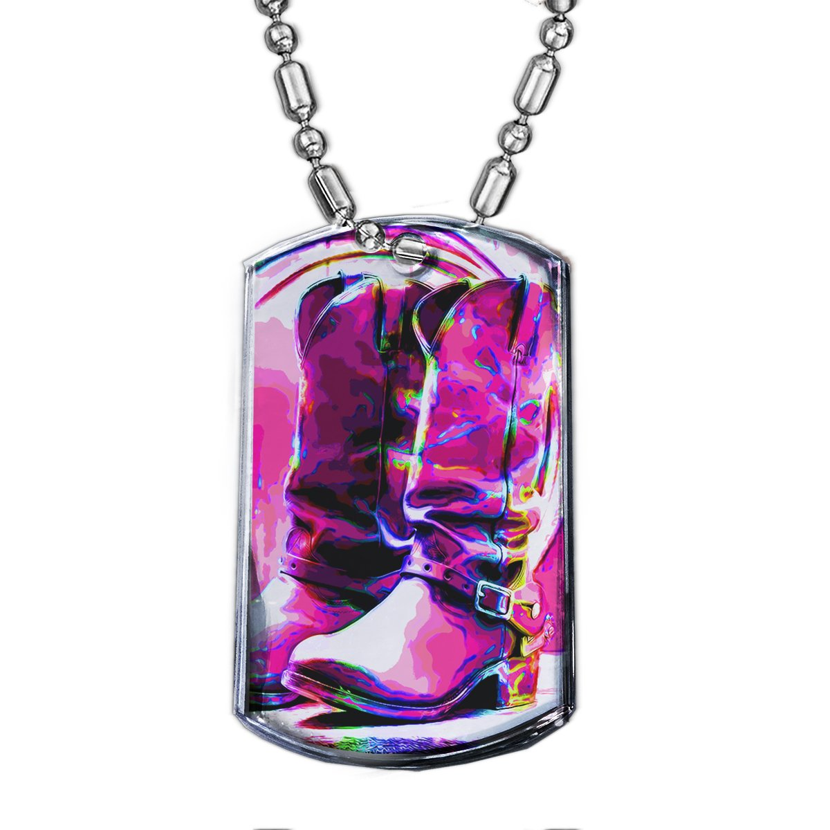 Cowboy Boots_1 - Premium Chrome Dog Tag Pendant Bead Chain Necklace