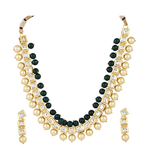 6d9af6d5924cd Aradhya Stylish Square Kundan with Green Onyx Stone and Shining Beige Pearl  Necklace Set with Earrings for Women and Girls