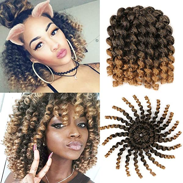 Amazon Com 5 Packs Wand Curl Hair 8inch Jamaican Bounce Synthetic Crochet Twist Braids Hair Extension 20strands Pack Xtrend Hair 1b 27 5packs Lot Beauty