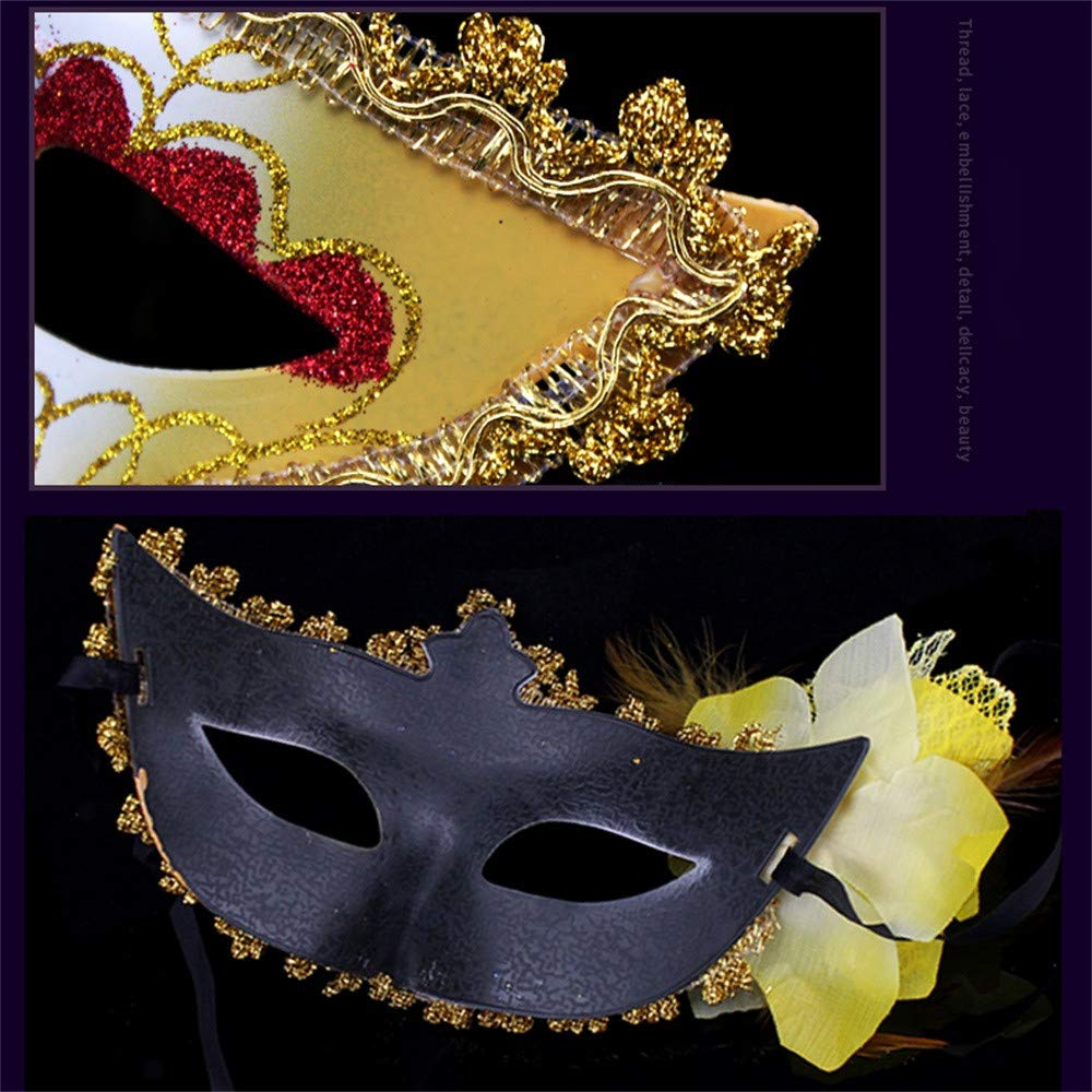 Amaping Women Clearance Masquerade Lace Mask Half Face Elegant Princess Prom Party Hollow Out Novelty Decorative Mask for Carnival Fancy Party (Yellow) by Amaping (Image #5)