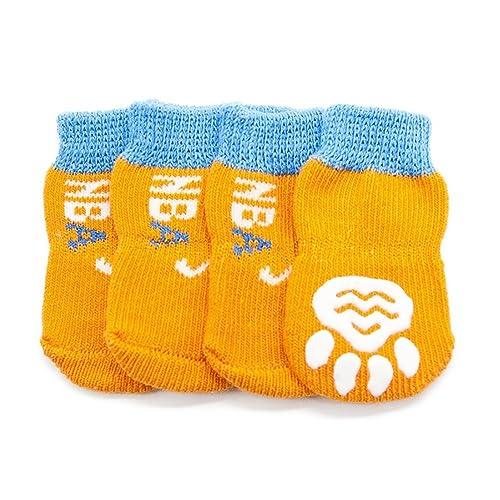 Calcetines para Perros, Zapatos Antideslizantes Antideslizantes para Mascotas De Color Naranja Calcetines Anti-sucios