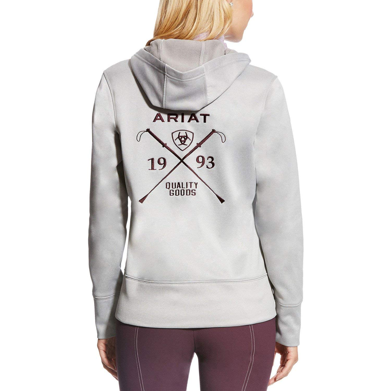 66f36ce0886d1 Ariat Milton Womens Zip Hoody X Large Heather Grey  Amazon.co.uk  Clothing