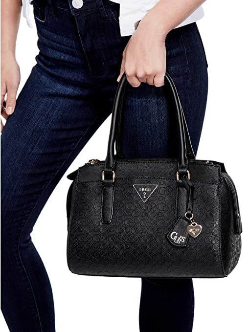 Amazon.com: GUESS Factory Womens Everett Logo-Debossed Satchel: GUESS Factory