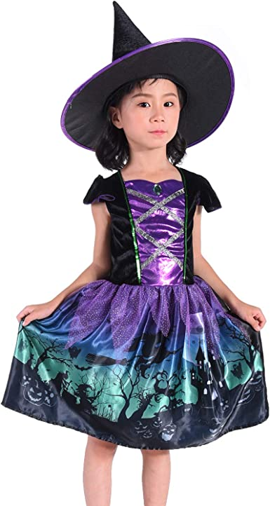 Suppromo Girls Witch Costume Kids Halloween Witch Costumes With Hat Witch Dress Up Outfit 3 8t Clothing Amazon Com