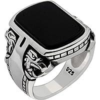 خاتم رجالي متين من الفضة الإسترلينية عيار 925 بتصميم نسر تركي يدوي فاخر وثقيل