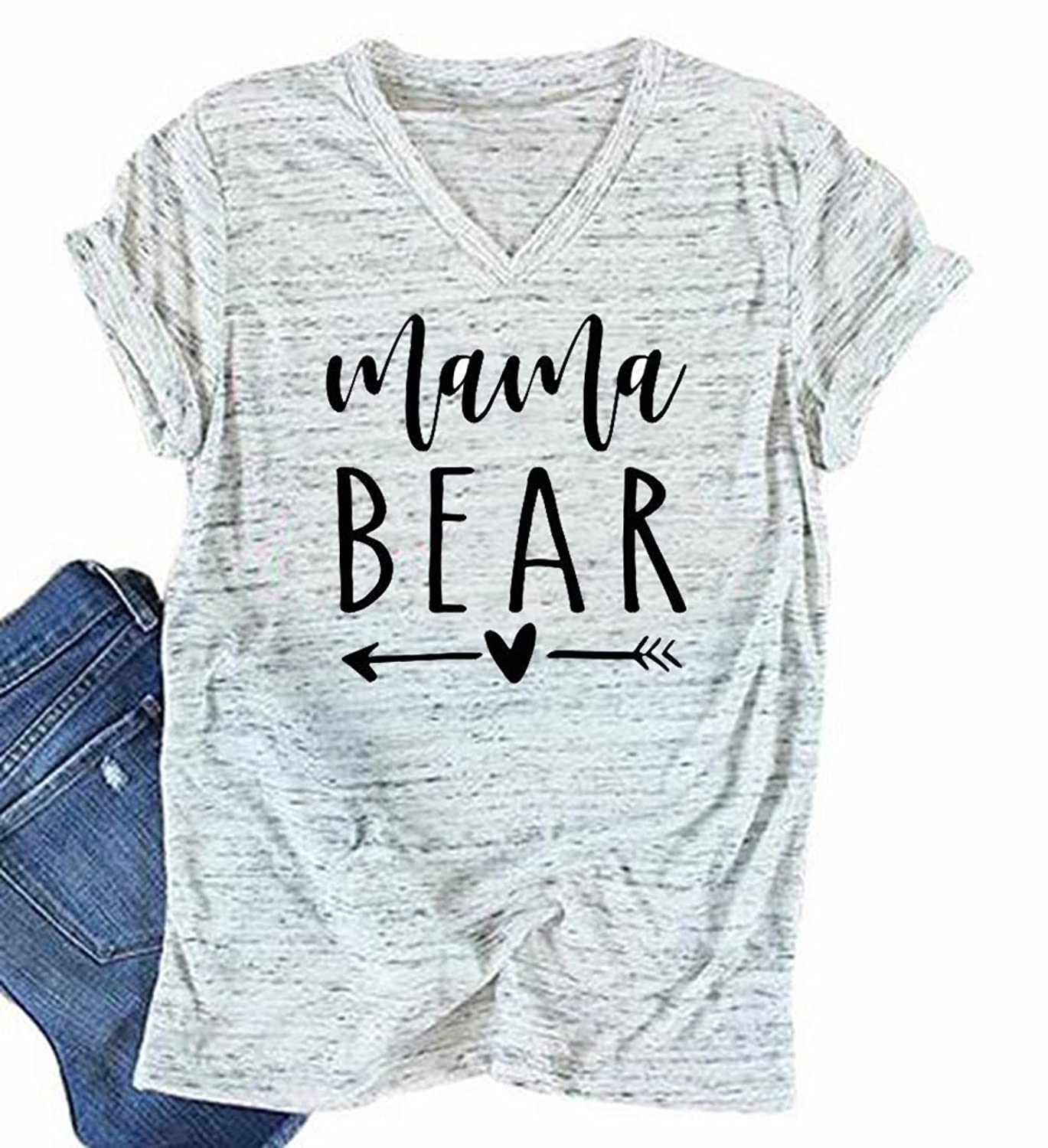 f05c2d65 Feature: Fashion and Casual design, Mama Bear, Heart Arrow Print, Funny  Letter Print Tee, V Neck Short sleeve, Casual Tees for Women.