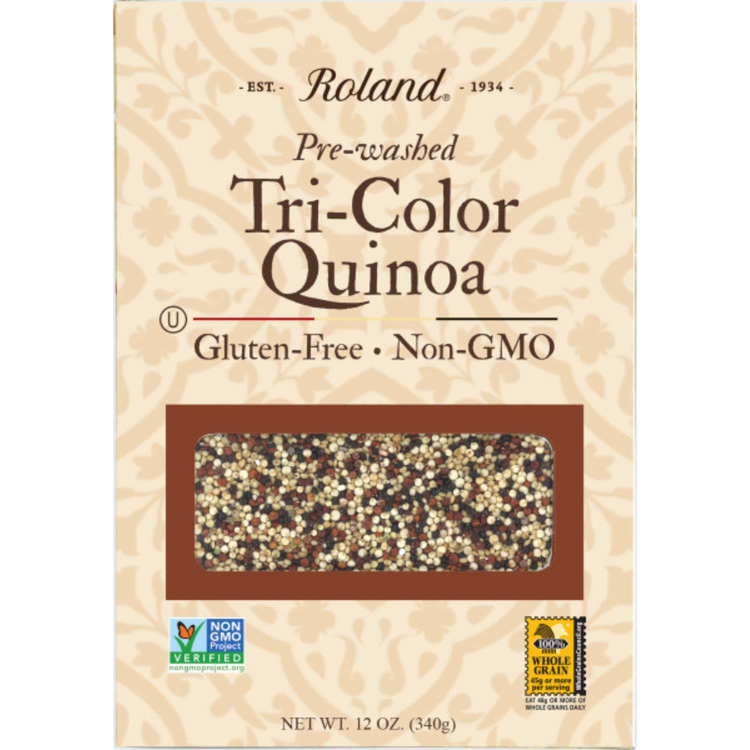 Roland Foods Organic Tri-Color Quinoa, Pre-washed, All Natural, Gluten Free, 12-Ounce