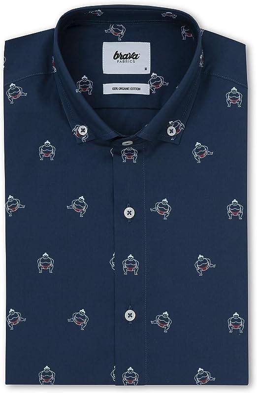 Brava Fabrics - Camisa de Hombre - Camisa para Hombre - Camisa de Hombre - 100% Algodón - Modelo Sumo Boy Navy: Amazon.es: Ropa y accesorios